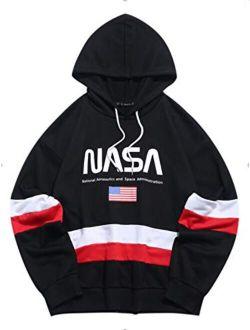 Men's Nasa Logo American Flag Print Drawstring Hooded Sweatshirt Unisex Colorblock Kangaroo Pocket Hoodies Pullover