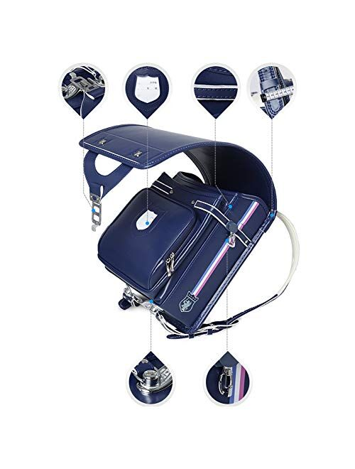 Ransel Randoseru automatic Lock Japanese school bags for Girls Boys PU leather