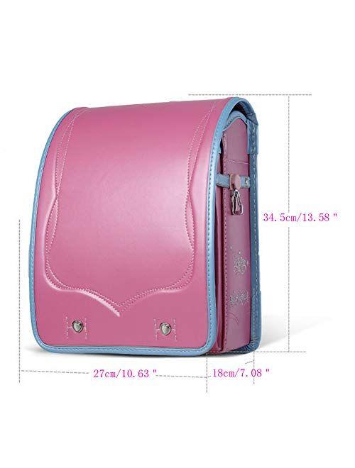 Ransel Randoseru automatic-Lock Japanese school bags for Girls Boys PU leather