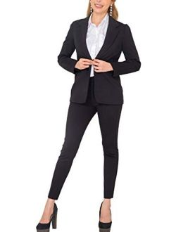 Marycrafts Women's Business Blazer Pant Suit Set for Work