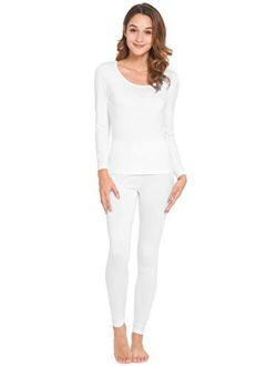 WiWi Womens Bamboo Soft Pajamas Set Lightweight Underwear High Stretch Long Johns Sets Base Layer Top with Bottoms S-3X