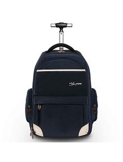 HollyHOME 19 inches Wheeled Rolling Backpack for Men and Women Business Laptop Travel Bag