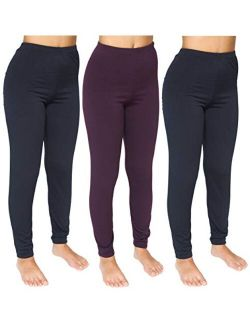 3 Pack: Women's Thermal Underwear Base Layer Fleece Lined Compression Pants Leggings