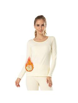 MANCYFIT Thermal Tops for Women Fleece Lined Shirt Long Sleeve Base Layer V Neck