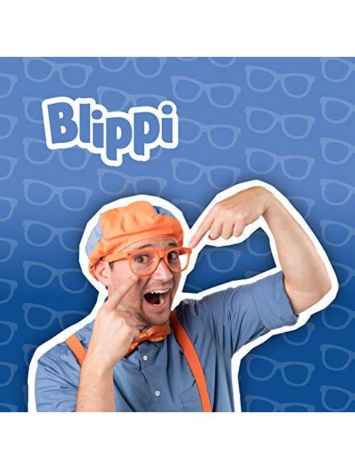 Blippi Mirrored Sunglasses - Bendable, Polarized, Orange Glasses for Children with Blue Mirrored Lens