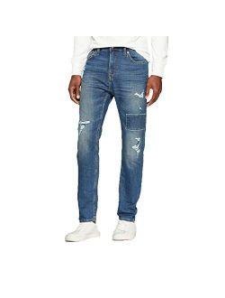 Men's Taper Fit Medium Patched With Destruction Jeans - Vintage Indigo -