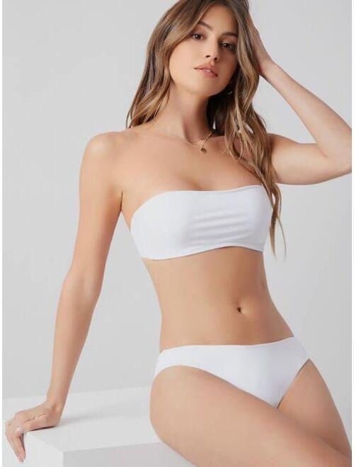Shein Plain Bandeau Bikini Top