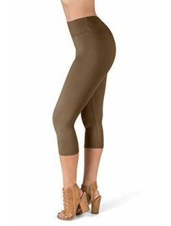 High Waisted Super Soft Capri Leggings - 20 Colors - Reg & Plus One Size