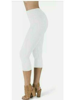 High Waisted Leggings - White - Super Soft Capri Length Opaque Slim