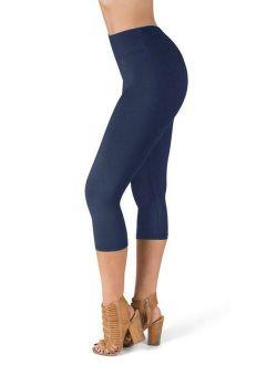 "High Waisted Ultra Soft Capri Leggings | 1"" Waistband | Navy, One Size"