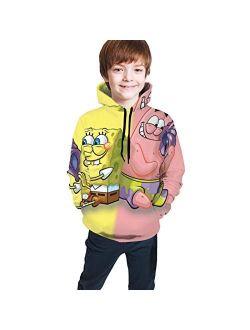 JINZ TAYLOR Spongebob 3D Print Youth Hoodies Jacket for Boys and Girls Pullover Hoodies Sweatshirt
