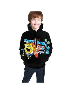 Spongebob Funny and Good-Looking Teen Hooded Sweate Jacket Black Comfortable Classic Boy and Girl Unisex-Baby