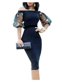 Ybenlow Womens Off The Shoulder Short Sleeve Vintage Slim Bodycon Cocktail Party Club Midi Dress