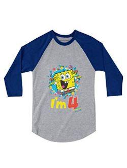 Official Spongebob - 4th Birthday I'm 4 3/4 Sleeve Baseball Jersey Toddler Shirt