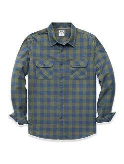 Dubinik Men's Plaid Long Sleeve Shirts Button-Down Casual Cotton Shirts Regular Fit with Two Pockets