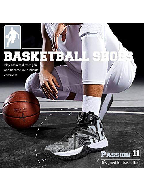 ASHION Kids Basketball Culture Shoes Boys Air-Cushion Comfortable Girls Basketball Shoes Breathable Casual Fashion Kids Shoes Non-Slip Boys Shoes Durable High Tops for Bo