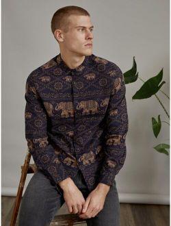 Men Elephant & Chain Print Button Front Shirt