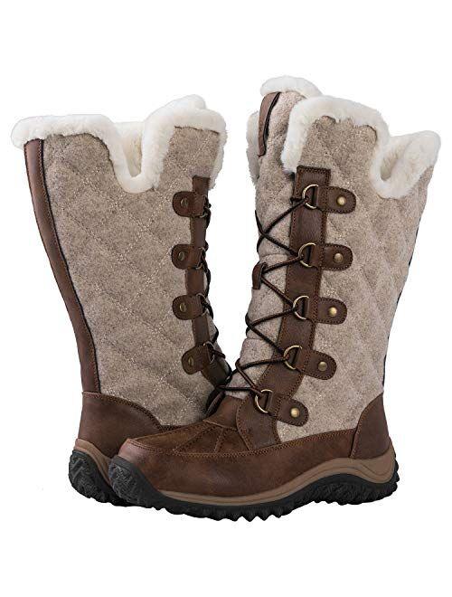 GLOBALWIN Women's Mid-Calf Fleece Lined Winter Boots
