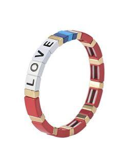 Tile Enamel Bracelet - Love Letter Alphabet Soup Bracelet Colorblock Bracelet Elastic Rectangle Bracelet Bead Tile Bracelets For Women Men Stackable Gold Tila Bra
