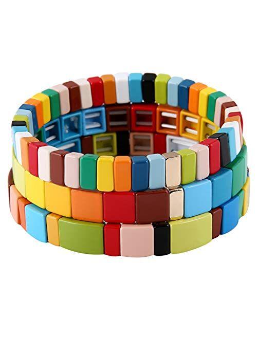 Coolcos Tile Bracelets Stackable Enamel Stretchy Tile Bracelet Rainbow Colorblock Beads Bracelets Bohemian Strand Bracelets for Lady Women & Men Girls
