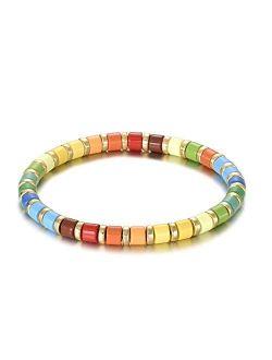 Dainty Elastic Enamel Tile Bracelet - Colorblock Bohemian Boho Stretchy Wristlet For Women Stackable Arm Party Bracelets