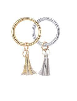Lcos Wristlet Keychain Bracelet Bangle Keyring - Large Circle Key Ring Leather Tassel Bracelet Holder For Women Girl
