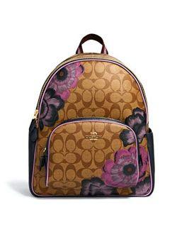 Womens Court Backpack In Signature Canvas With Kaffe Fassett Print Khaki Purple Multi