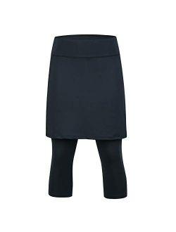 Skirted Leggings For Women, Athletic Tennis Skirt Knee Length With Leggings Active Yoga Skirt Pockets