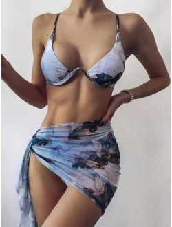 3pack Water Colour Underwire Bikini Swimsuit & Beach Skirt