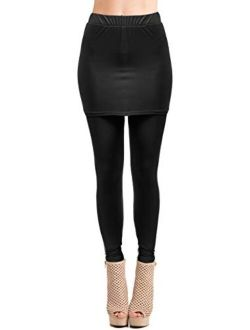 FASHIONOMICS Womens Elasticated Full Length Skirt With Leggings For Workout