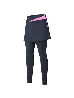 Women Cycling Pants With Pockets Up-padding Tight Skirted Leggings