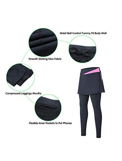 ANIVIVO Women Cycling Pants with Pockets Up-Padding Tight Skirted Leggings