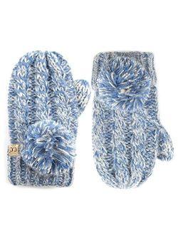 C.C Kids Pompom Ribbed Knit Children Fleece Lining Children Mittens Gloves (MT-23 KIDS) (MT-24 KIDS) (MT-25 KIDS)