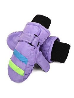 Flammi Kids Ski Mittens Fleece Lined Winter Snow Mittens Water-Resistant for Boys Girls