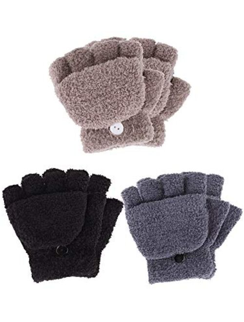Boao 3 Pairs Kids Fingerless Mittens Convertible Flip Top Gloves Soft Knitted Gloves