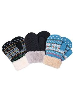 Toddler Mittens, Warm Toddler Mittens, Knitted Mittens Girls Age 2-6 (3 Pairs)