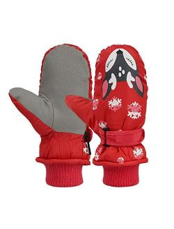Kids Easy-On Wrap Waterproof Thinsulate Warm Winter Snow Ski Mitten