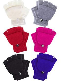 6 Pairs Convertible Fingerless Gloves Warm Knit Glove with Mitten Cover for Kids and Teens (4-11 Years)