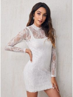Mock-neck Form Fitted Lace Dress Without Camisole