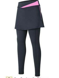Women's Black Pink Cycling 3/4 Capri Legging With Skirt 4d Gel Sz S