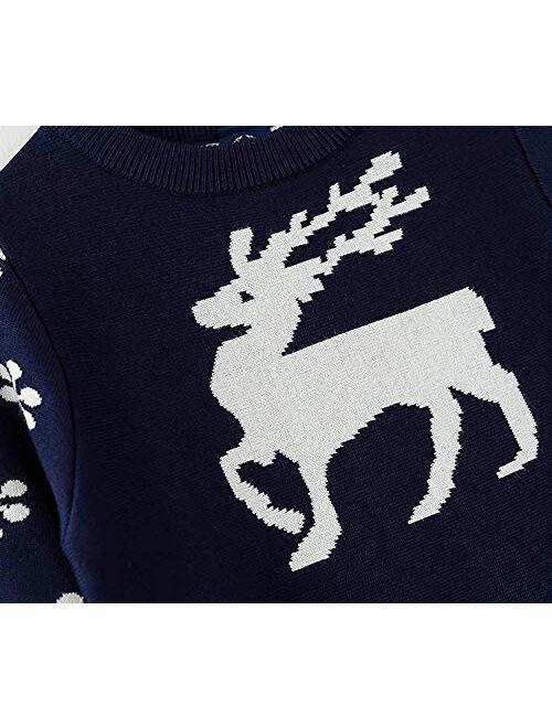 NNJXD Girls Long Sleeve Autumn Winter Knit Sweater Christmas Dress Casual Wear