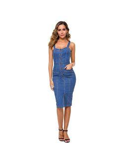 charmsamx Women's Button Down Sleeveless Denim Dress Slim Fit Pockets Bodycon Dress Party Club Beach Dress