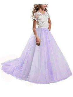 Girls Princess Pageant Long Dress Kids Prom Ball Gowns