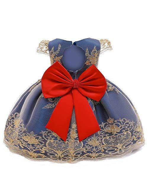 NNJXD Toddler Princess Flower Dress Baby Girls Birthday Wedding Party Dresses