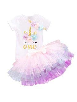 Baby Girls 1st Birthday Unicorn Outfits Set Rainbow Tutu Skirt+ Unicorn T-shirt+ Flower Headband