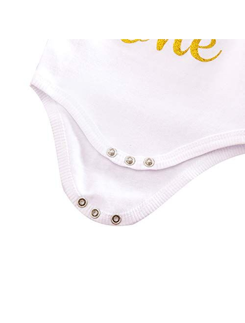 NNJXD Baby Girls 1st Birthday Unicorn Outfits Set Rainbow Tutu Skirt+ Unicorn T-Shirt+ Flower Headband