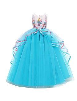 Girls Unicorn Dress Rainbow Fancy Princess Costume Tulle Party Dresses