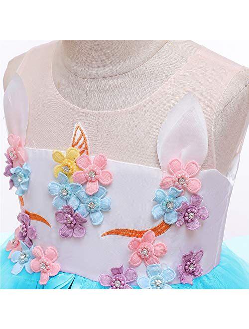 NNJXD Girls Unicorn Dress Rainbow Fancy Princess Costume Tulle Party Dresses