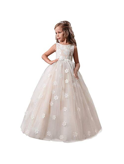 NNJXD Girl Sleeveless Princess Pageant Flower Wedding Party Dress Ball Gown