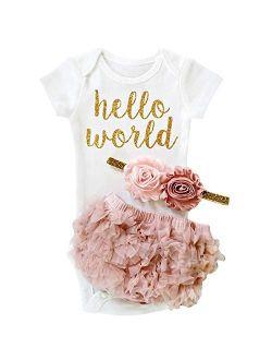 Baby Girl 1st Birthday Party Outfits Romper Shorts Headband 3pcs Skirt Sets
